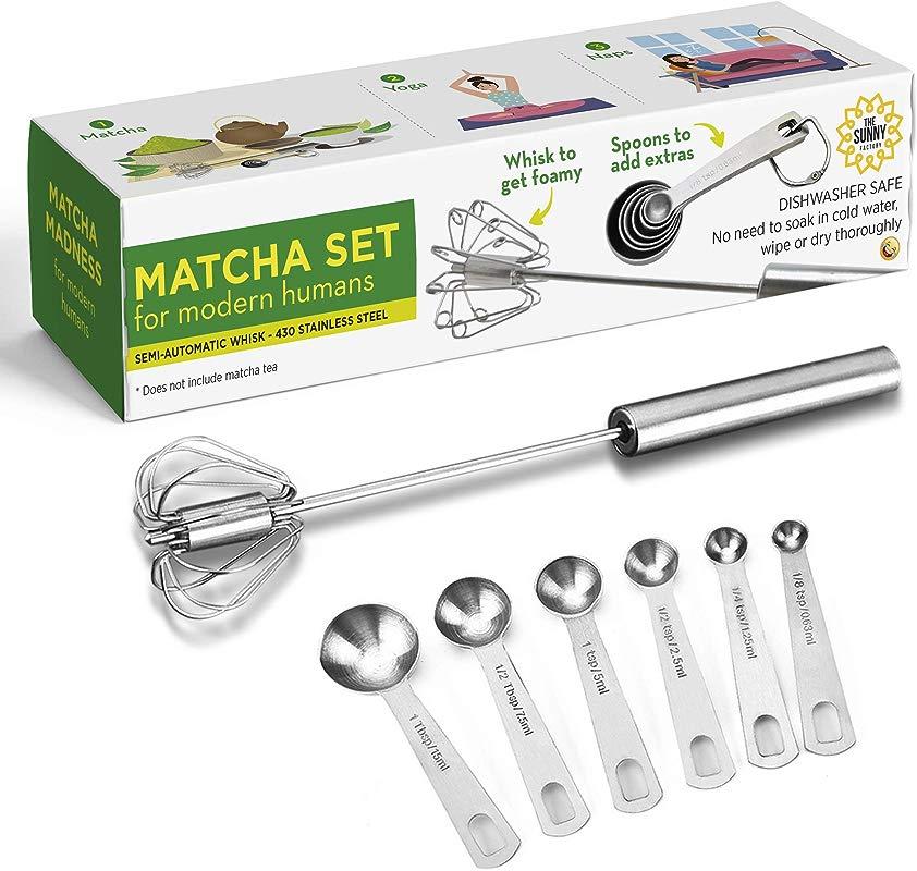 Matcha Set For Modern Humans Hand Push Whisk Blender Measuring Spoons Versatile Tool For Milk Frother Mixer Stirrer Egg Beater Kitchen Utensil For Blending Whisking Beating Stirring