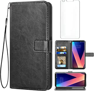 Asuwish Compatible with LG V35 ThinQ V30 Plus Wallet Case Tempered Glass Screen Protector Leather Flip Card Holder Stand A...