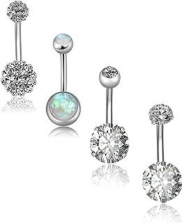 REVOLIA 4-5Pcs 14G Stainless Steel Belly Button Rings for Women Girls Navel Rings CZ Body Piercing