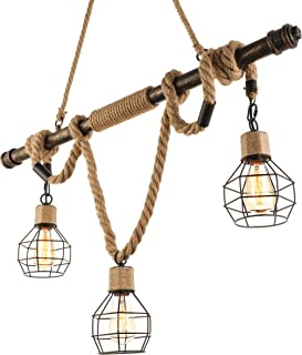 BAYCHEER Multi-Light Natural Rope Pendant Lights Chandelier Celling Lamp Hanging Light Fixture with Cage Guard for Indoor Warehouse Barn in Dark Bronze use 3 E26 Bulbs