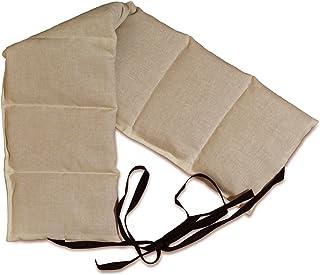 Coussin aux graines de lin à 7 compartiments avec sangle - 65x15 cm - Ecru - Coussin aux graines utilisable à chaud & Comp...