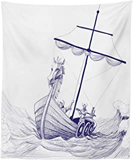 Lunarable Viking Tapestry, Drakkar Long Boat with Dragon on Bow of Ship Monochrome Marine Pattern, Fabric Wall Hanging Decor for Bedroom Living Room Dorm, 23