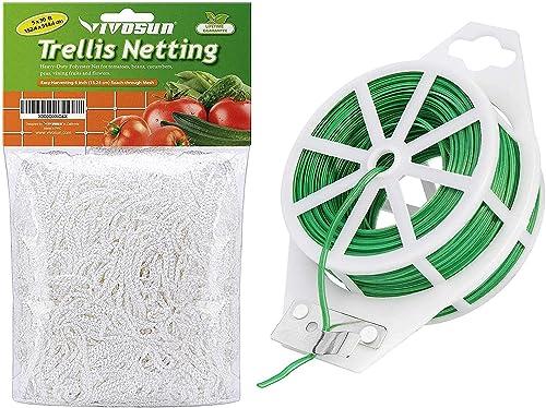 new arrival VIVOSUN 5 x 30ft Heavy-Duty Polyester Plant sale Trellis Netting online sale and 164 Feet Twist Tie Roll Spool Dispenser w/Cutter Secure Garden Plant outlet sale