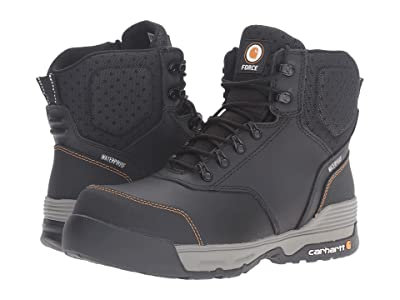Carhartt 6 Waterproof Comp Toe Work Boot (Black Leather) Men
