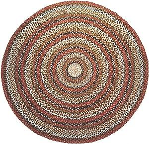 Second Nature Online - Alfombra de algodón Trenzado a Rayas Redondas 60 cm de diámetro
