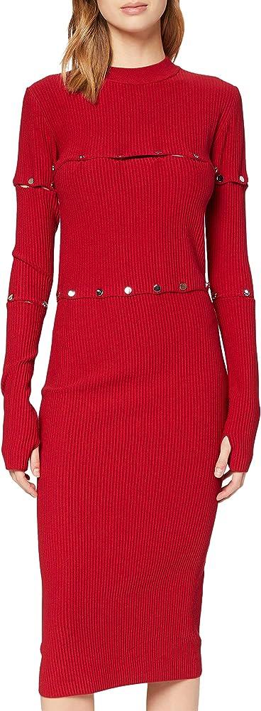 Hugo boss , vestito da donna,vestito midi in maglia multidirezionale con borchie lucide 50444670