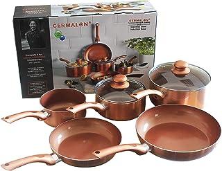 Kit de sartenes de cobre con revestimiento de cerámica antiadherente