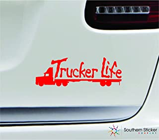 Trucker life 18 wheeler 7x2.4 red driving roads highway truck united states america color sticker state decal vinyl - Made and Shipped in USA
