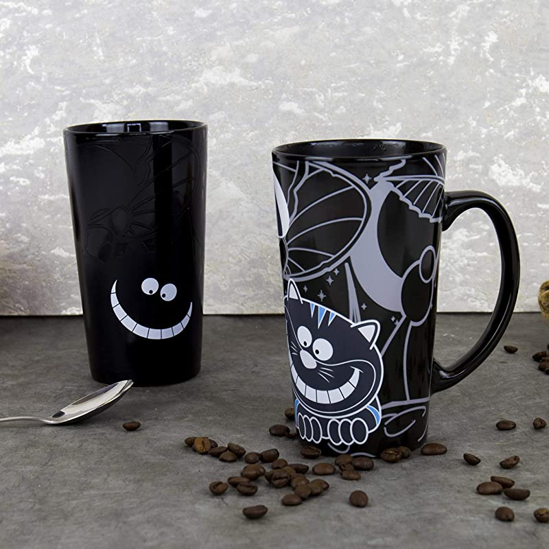 Gift Republic GR450029 Cheshire Cat Heat Chaning Mug Large BLACK