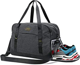JAHBS Sports Fashion Gym Bag with Shoe Compartment & Wet Pocket, Travel Duffel Bag for Men and Women Lightweight, Black