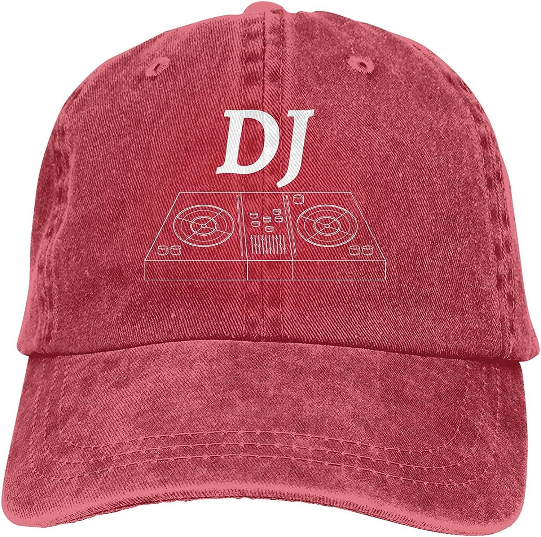 Dj Turntable Baseball Cap Trucker Hat Retro Cowboy Dad Hat Classic Adjustable Sports Cap for Men&Women Red