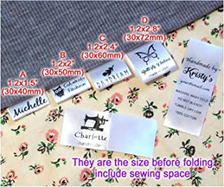 Custom Text Logo Personalized Sewing Hanging Satin Ribbon Labels Folding Name tag Washable wash Care Label (A (1.2
