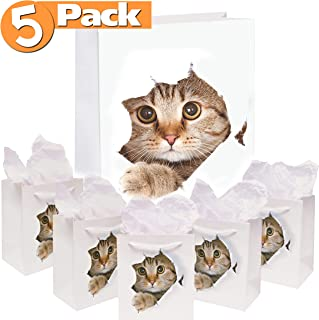 5-Pack Cat Gift Bags   Paper Bag for Birthday and Holiday Gifts, Party Favors   Kitten Themed Goodie Bags with White Rope Handles   Reusable, Biodegradable, 7x7.5 Inches