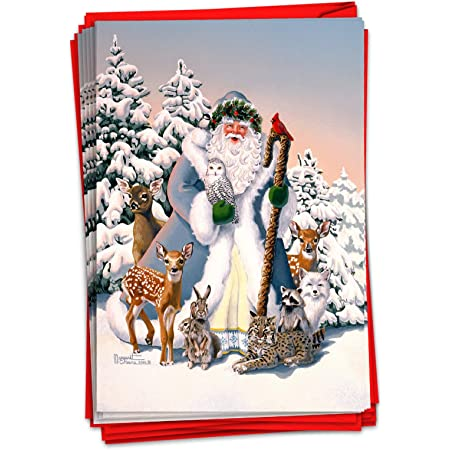 Pack of 12 Premium Vintage Christmas Cards Large with White Envelopes