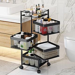 DROMEZ Chariot de Rangement Métal Rotatif, Chariot de Cuisine Mobile avec Panier de Rangement Roulettes, Chariot de Servic...
