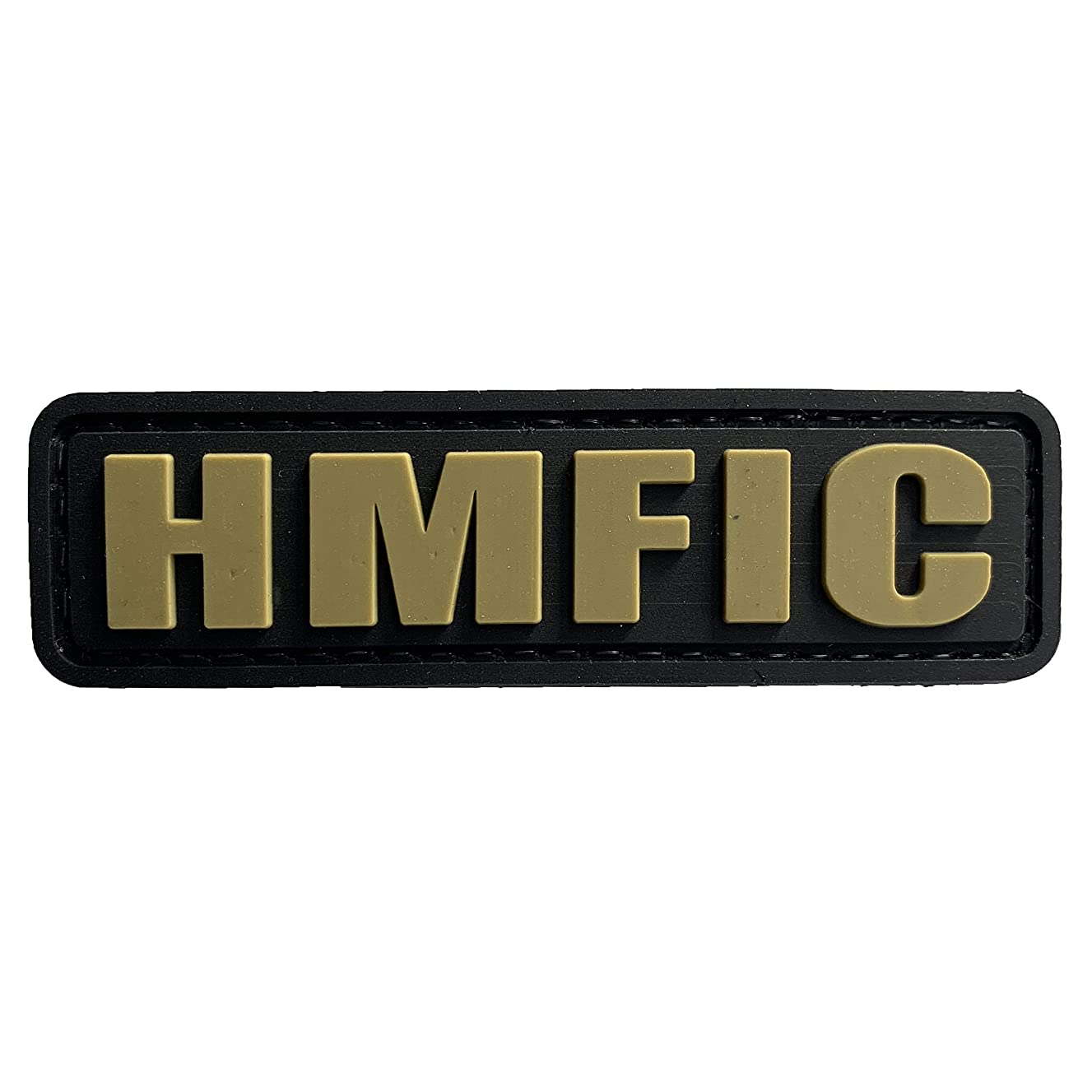 HMFIC Patch Hook Fastener Backing Head Mother Fker in Charge 3.15''x1'' PVC Morale Patch (Black and Tan)