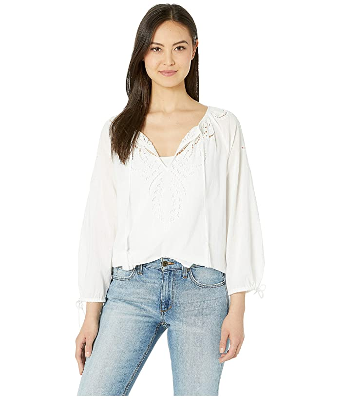 Lucky Brand  Vivienne Eyelet Top (Lucky White) Womens Blouse