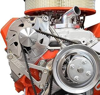 ICT Billet SBC Billet Alternator Bracket Adjustable LWP Small Block Chevy Kit 305 327 350 383 5.0L 5.7L V8 Eight Cylinder Long Water Pump Carburetor V Belt Compatible With Chevrolet 551411