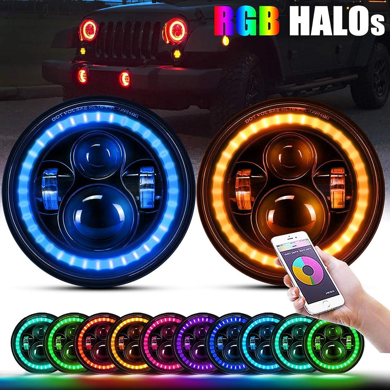 T-Former 7'' inch Round LED Headlights w/RGB Halo Ring Hi/Lo Beam for 1997~2018 Jeep Wrangler JK TJ LJ CJ Sahara Rubicon Willys Hummer H1 H2