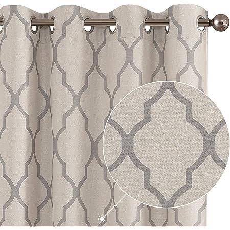 Moroccan Tile Print Linen Textured Panels for Bedroom Room Grommet Flax Linen Look Curtain Window Treatment Set for Living Room 84 inch Grey
