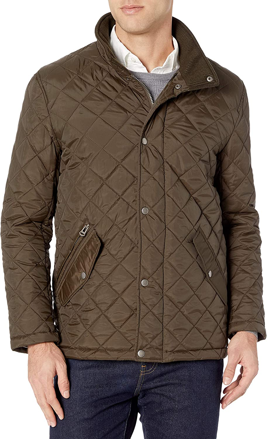 Cole Haan Men's Cash special price Nylon Quilted With Barn Knit Outstanding Collar Jacket