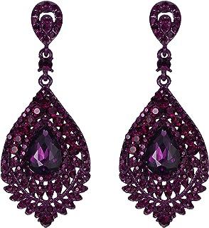Diamond Shaped Purple Colored Resin Dangle Earrings with Silver Flecks