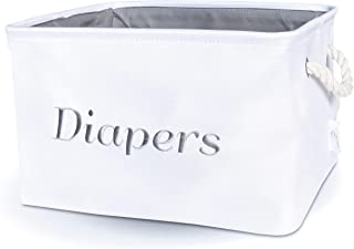 Diaper sotrage bin, White Canvas Fabric Basket with Gray Embroidering. Perfect as Nursery Organizer and Storage.