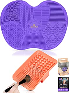 ExSoullent Makeup Brush Cleaner Mat - Set of 2 Silicone Portable Brush Cleaning Pads with Strong Suction Cups and Hand Strap, Perfect Gift for Her + eBook