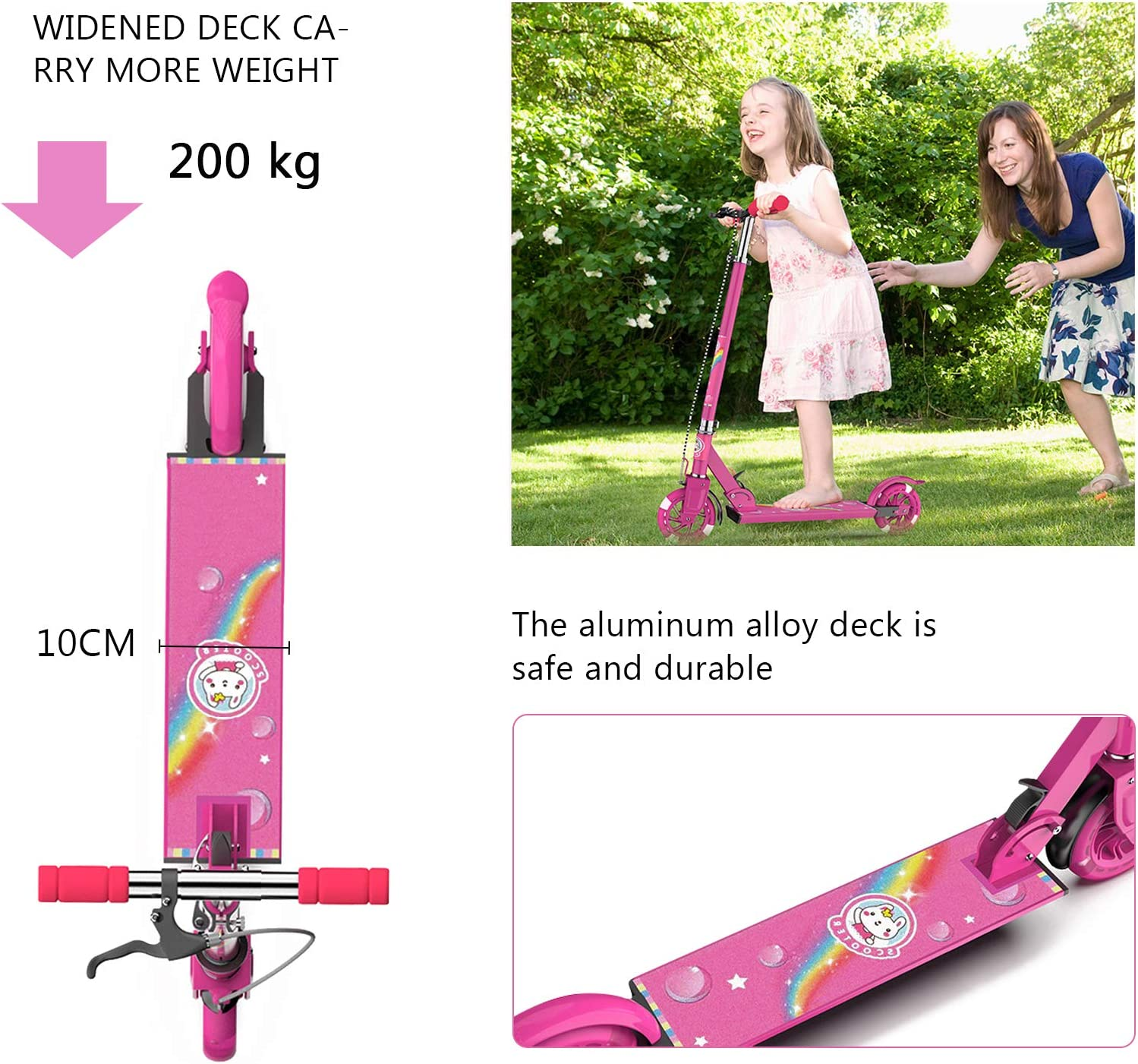 OLYSPM Scooter for Kids,2 Wheel Folding Kick Scooter with Adjustable Handle Bars,With safety handbrake,Multi-coloured LED Light Up Wheels,for Girls /& Boys Aged 3+