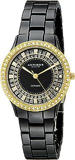 Akribos Women's Crystal Embellished Ceramic Watch - Link Bracelet - AK509
