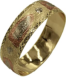 Virgen De Guadalupe Bangle 18k Gold Plated 2 1/2 Inch - 21mm - Our Lady of Guadalupe Bangle