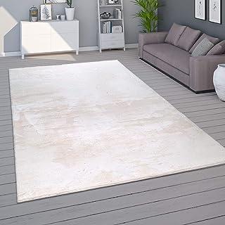Tapis de Salon Unicolore Lavable Pile Courte et Douce, Dimension:160x220 cm, Couleur:Crème