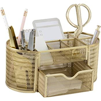 Beautiful Gold Desk Organizer - Made of Metal with Gold Finish - Gold Desk Accessories - Storage for Paper and Office Supplies - Desk Organizer Gold - Storage for Home or Office