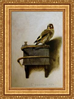 FOREVER Carel Fabritius The Goldfinch Framed Canvas Giclee Print - Finished Size (W) 21.1'' x (H) 28.1'' [Gold] (V14-09K-MD535-01)