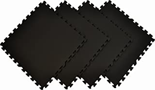 Wonder Mat Quality Multipurpose Anti-Fatigue Extra Thick Mats (Set of 4), Black, 2' x 2'