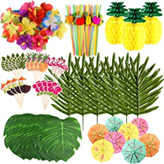 FEPITO 123 Pcs 7 Kinds Tropical Hawaiian Party Decorations Set Luau Party Supplies Decor Tropical Leaves Flowers, Tissue P...