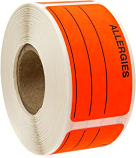 Allergies Sticker with Dispenser Box/250 Allergy Stickers/Write on Fluorescent Red Label