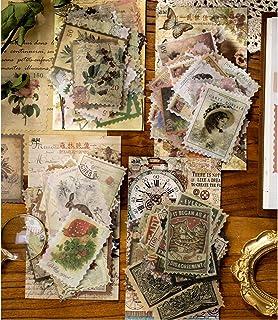 240 Pcs Autocollants Thème du timbre, Stickers bâtiment Plantes Fleurs Animaux Sauvages Papillons pour Scrapbooking Deco d...