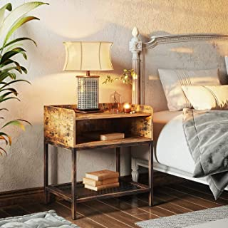 Rolanstar Nightstand with Storage Shelf, End Table with Open Storage, 2-Tier Bedside Table with Metal Frame for Living Roo...
