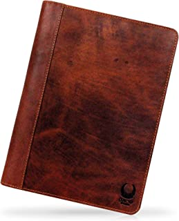 Corno d´Oro Carpeta de Documentos de conferencias Cuero de búfalo A4 Mirada de la Vendimia en Color marrón con Cierre de C...