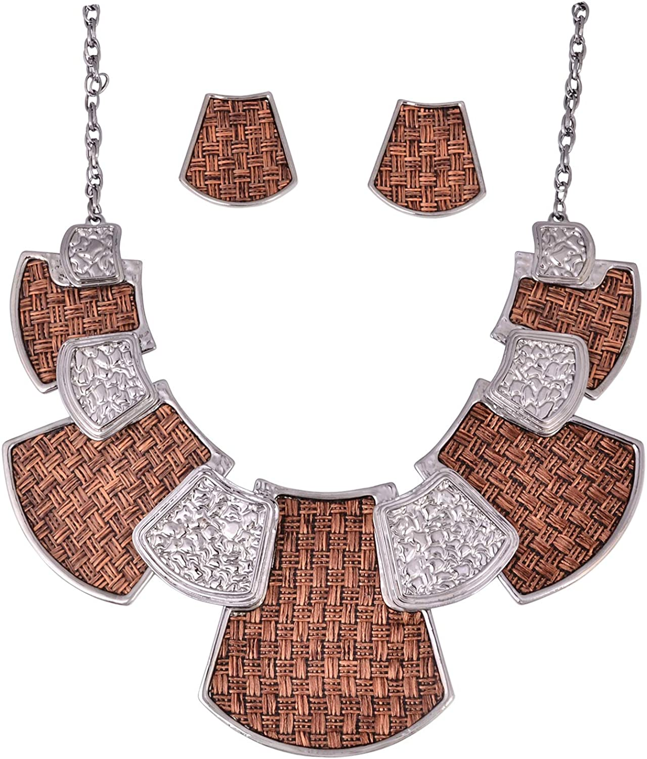 Vintage Exaggerated Black Hammered Shape Bib Necklace Earrings Sets Fashion Jewelry Chunky Choker Necklace for Women Girl Mother Wife Gift