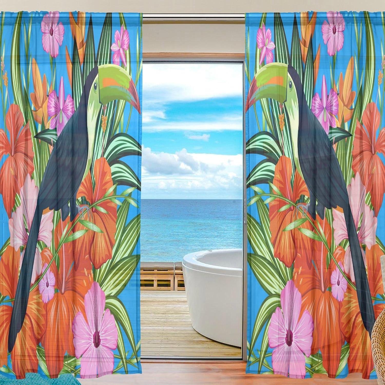 Vantaso Sheer Curtains 78 inch Long Dark bluee Parred Pink orange Flower for Kids Girls Bedroom Living Room Window Decorative 2 Panels