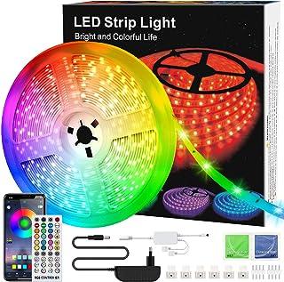 WEISIJI LED Strip, RGB LED Streifen, Farbwechsel LED Lichterkette 6M mit IR Fernbedienung, LED Strip Music Sync, LED Band ...