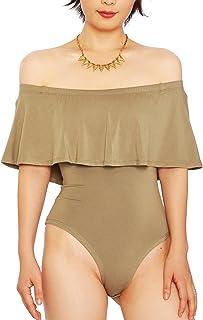 eca83e47ca2f May Maya Women s Off Shoulder with Ruffle Overlay Bodysuit