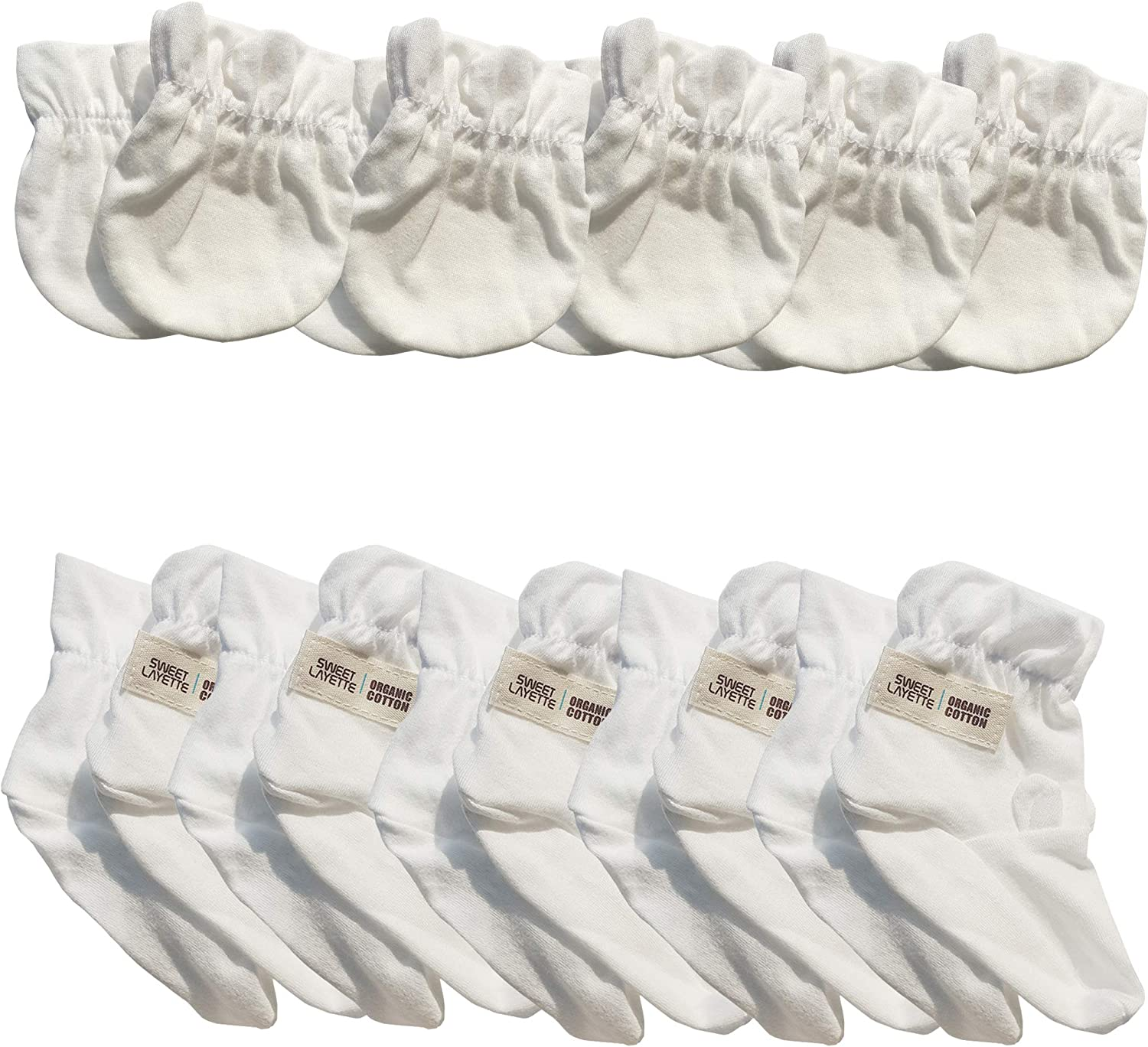 Sweet Layette Baby Mittens and Booties Set - No Scratches - Organic Cotton (10, White)