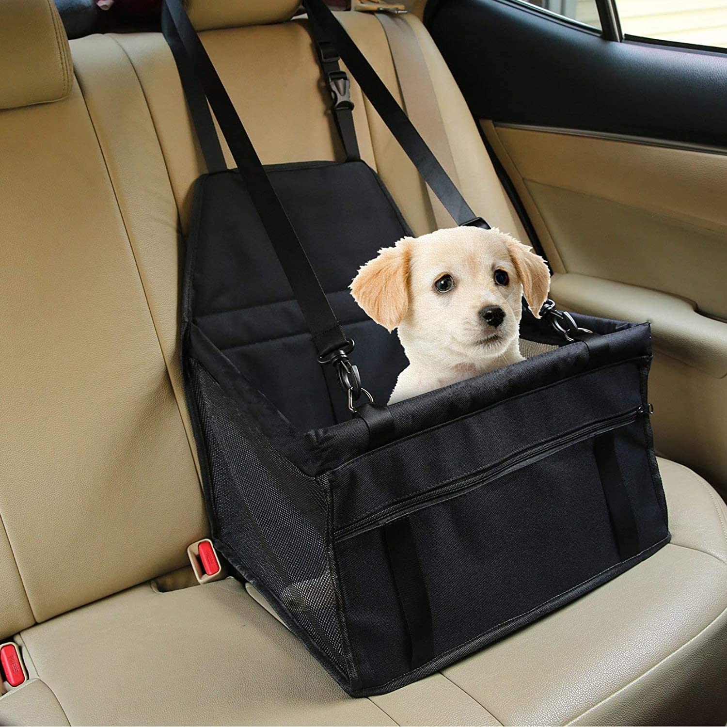 HAHY Pet Car Booster Seat Breathable Waterproof Pet Dog Car Supplies Travel Pet Car Carrier Bag Seat Predector Cover with Safety Leash Black