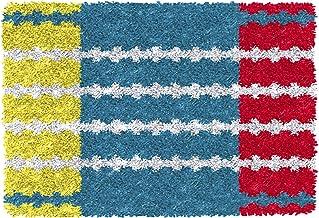 Latch krok kit för vuxna matta hantverk med färg tryckta kanfas diy virka garn kit hakande broderi matta set 52x38cm