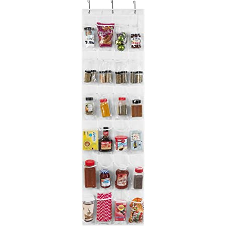 Over The Door Pantry Organization and Storage, Pantry Door Organizer, Spice Rack Organizer for Cabinet, Hanging Spice Rack, K Cup Holder, Shoe Rack, Heavy Duty Door Rack with Strong Metal Hooks (1 Pk)