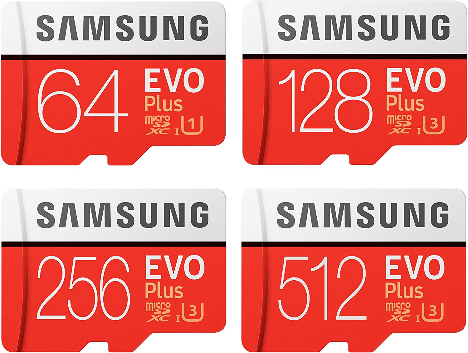 Samsung Evo Plus Micro SD SDXC Class 10 Memory Card U3 100MB/S with Plastic Cases (256GB, 1 Pack)