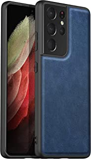 """Arkour Retro Designed for Samsung Galaxy S21 Ultra 5G Case, Premium Slim Stylish High-end Leather Anti-Scratch Shockproof Cover Case for Samsung S21 Ultra 6.8"""" (Blue)"""